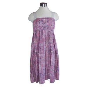 Vintage 70s Mauve Pleated Babydoll Dress